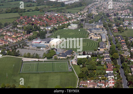 aerial view of Ashville Sports Centre and playing fields at Ashville College School, Harrogate, North Yorkshire - Stock Image