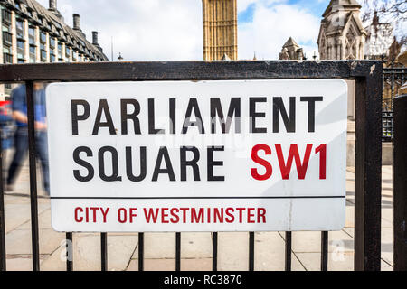 parliament square,sw1,street sign,london,england,uk - Stock Image