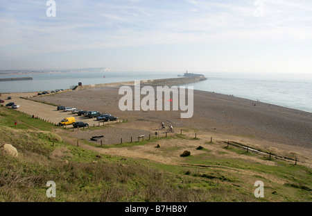 Newhaven Harbour and Lighthouse from Castle Hill Chalk Cliffs, Newhaven, East Sussex, UK - Stock Image