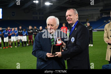 Winning Bognor manager Jack Pearce (left) receives his medal after the Sussex Senior Challenge Cup Final between Bognor Regis Town and Burgess Hill Town at the Amex Stadium. Credit : Simon Dack - Stock Image