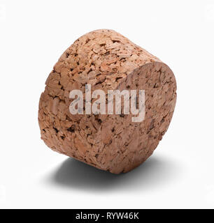 Large Wide Cork on Side Isolated on White. - Stock Image