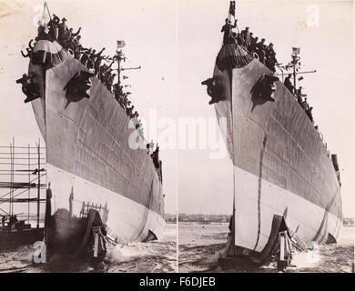 705. Launch of a US Liberty ship 1943. - Stock Image
