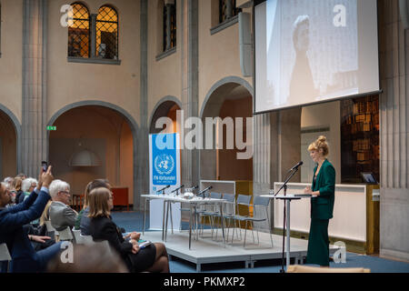 Stockholm, Sweden, September 14, 2018. Seminar about Agda Rössel (1910-2001) Sweden's and the world's first female UN ambassador. Presentation of the book 'Her Excellency Agda Rössel: from Lineman cottage to the UN Scraper 'by author Elin Jäderström. The author Elin Jäderström.The seminar is held at the Ministry of Foreign Affairs.  Credit: Barbro Bergfeldt/Alamy Live News - Stock Image