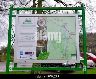 Park and explore, Tourist information sign,Coniston,Cumbria,England,UK - Stock Image