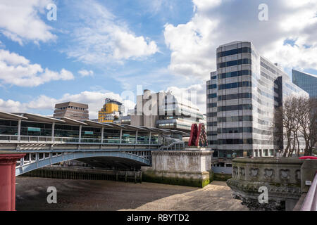 Blackfriars railway bridge, remains of the old bridge, with Sampson House (centre) and Ludgate House (right), London, UK - Stock Image