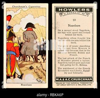 Cigarette card: Churchman's Cigarettes 'Howlers' series (1937) - Napoleon - Stock Image
