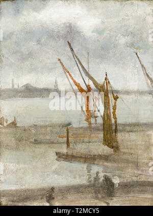 James McNeill Whistler, Grey and Silver: Chelsea Wharf, painting c. 1864 - Stock Image