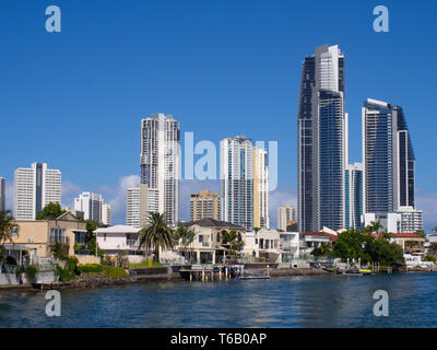Surfers Paradise And Chevron Island - Stock Image