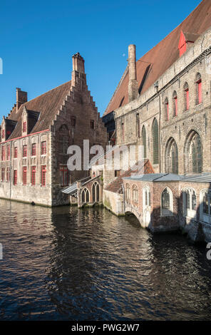 Exterior architecture of Saint Johns Hospital, a museum for one of the oldest preserved hospitals in Europe, Mariastraat, Bruges, Belgium - Stock Image