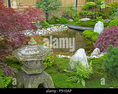 Traditional Japanese water garden with plants, shrubs, rocks and stone lantern - Stock Image