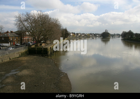 View of the River Thames from Kew Bridge Looking East, Kew, Richmond, Surrey, UK - Stock Image