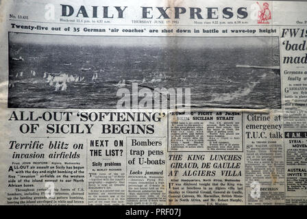 Front page headlines of the Daily Express newspaper All-Out Softening of Sicily Begins'  London England UK June 17 1943 - Stock Image