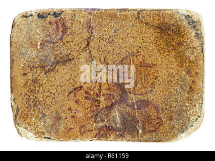 Weathered grunge dirty cardboard isolated on white background - Stock Image