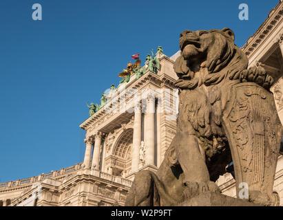 Exterior architectural detail of the Austrian National Library entrance at Heldenplatz, Neue Burg, Hofburg, Innere Stadt, Vienna, Austria - Stock Image