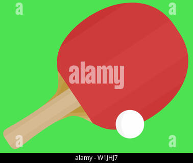racket ping pong sport leisure game table equipment illustration - Stock Image