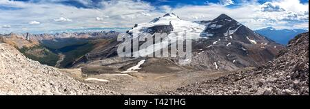 Alpine Basin and Wide Panoramic Landscape of Glaciated Mountain Hector Peak and Pipestone Valley Mountain Climbing in Banff National Park Canada - Stock Image