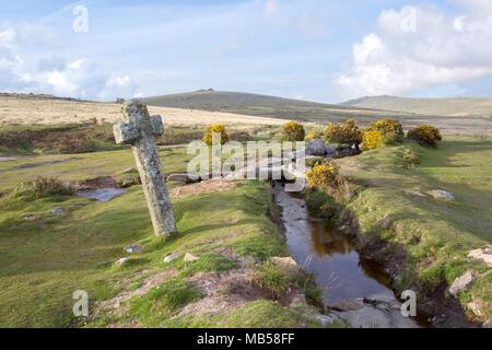 Summers day at Windy Post Cross Dartmoor National Park Devon Uk - Stock Image