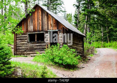 An old cabin in Garnet Ghost Town near Missoula, Montana USA. - Stock Image