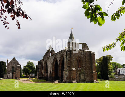 Church of Saint Peter and St Boniface vaulted south aisle with bell-tower remains of 13th century Cathedral ruins. Fortrose Scotland UK - Stock Image