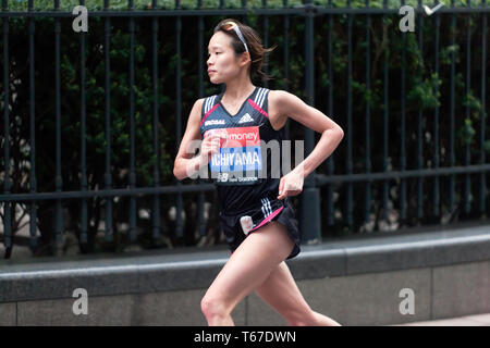 Mao Ichiyama competing for Japan,  in the Women's Elite 2019 London Marathon. Mao went on to finish 14th in her category, with a time of 02:27:27 - Stock Image