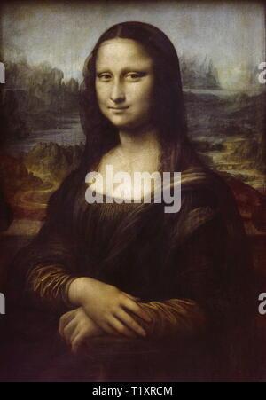 fine arts, Leonardo da Vinci (1425 - 1519), painting, 'Mona Lisa' ('La Gioconda'), oil on panel, 77 x 53 cm, 1503/1505, Louvre, Paris, supposed to be Monna Lisa di Bartolomneo di Zanobi del Giocondo, smiling, renaissance, Italian, Artist's Copyright has not to be cleared - Stock Image