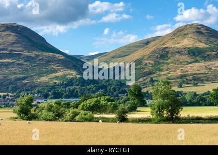 The Alva Glen in the Ochil Hills from the Woods caravan site, near Alva, Clackmannanshire, Scotland, UK - Stock Image