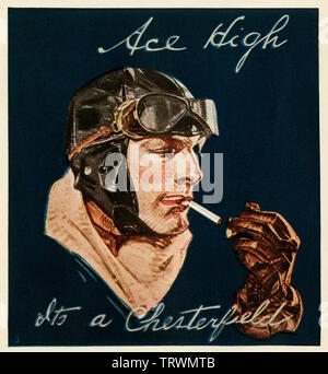 Chesterfield cigarette ad featuring an aviator, 1920s. Color halftone - Stock Image