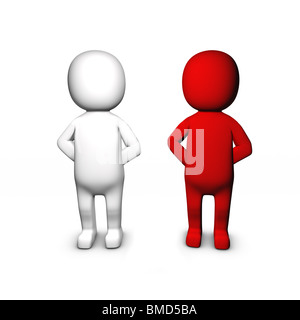 3D Two different people standing besides each other - Stock Image