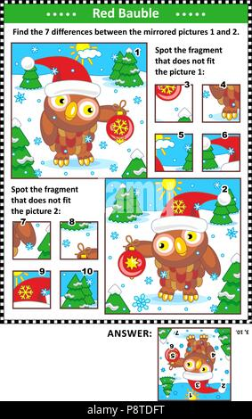 New Year or Christmas visual puzzles with owl and red bauble. Find the differences between the mirrored pictures. Spot the wrong fragments. - Stock Image