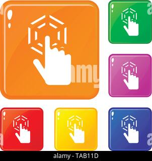Click icons set vector color - Stock Image
