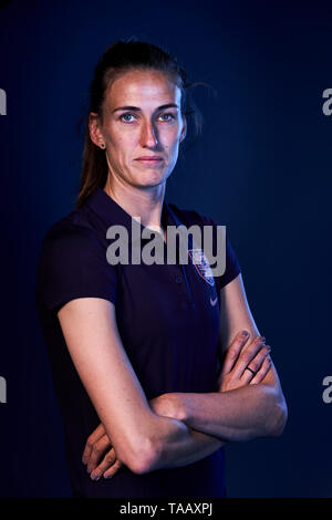 England women's Jill Scott poses for a photograph during the media day at St George's Park, Burton. - Stock Image