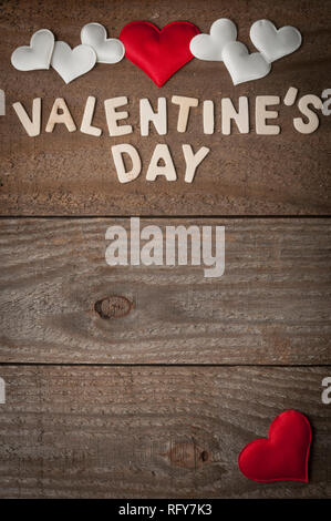 Valentine's day background with red and white hearts with copy space - Stock Image