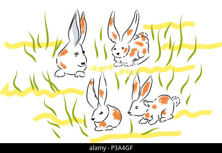 Dappled Bunnies.  Four bunnies in the lawns and herbs.Bunnies in the nature. - Stock Image