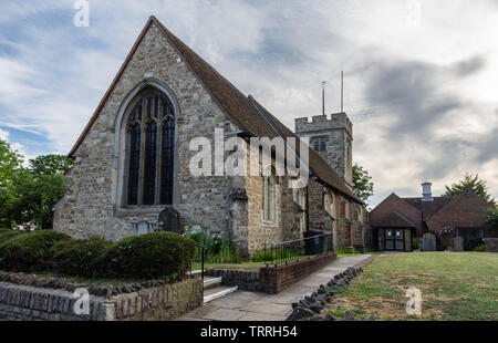 London, England, UK - June 1, 2019: The traditional old parish church of All Saints in Chingford in the London suburbs. - Stock Image