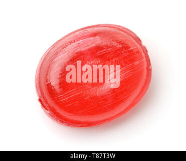 Top view of red hard candy isolated on white - Stock Image