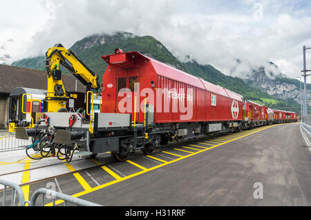 Firefighting and rescue train LRZ 14, based on a Windhoff MPV. Operated by SBB, the Swiss Federal Railways. - Stock Image