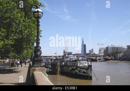 HMS President on the Victoria Embankment London recently repainted in Dazzle camouflage July 2014 - Stock Image