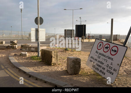 Landscape on the perimeter of the Port of Ramsgate, a closed but once busy ferry terminal, on 8th January 2019, in Ramsgate, Kent, England. The Port of Ramsgate has been identified as a 'Brexit Port' by the government of Prime Minister Theresa May, currently negotiating the UK's exit from the EU. Britain's Department of Transport has awarded to an unproven shipping company, Seaborne Freight, to provide run roll-on roll-off ferry services to the road haulage industry between Ostend and the Kent port - in the event of more likely No Deal Brexit. In the EU referendum of 2016, people in Kent voted - Stock Image