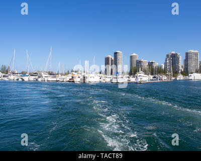 Boats In A Marina At Surfers Paradise - Stock Image