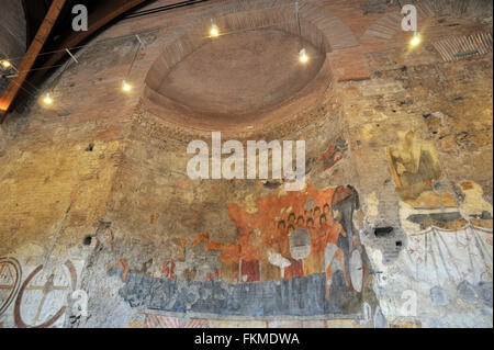 medieval fresco (8th century AD), Oratory of the Forty Martyrs, entrance hall to the Imperial Palace, Roman Forum, - Stock Image