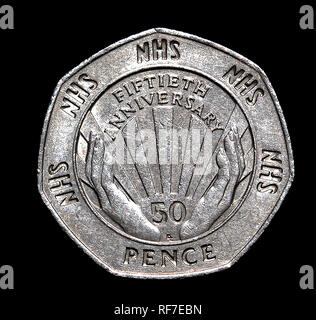 UK commemorative 50 pence coin celebrating the National Health Service. - Stock Image