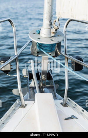 Sailboat bow equipment - Stock Image