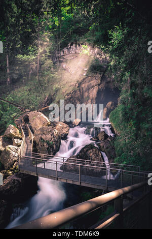 Golling waterfall is one of the most beautiful nature spectacles in Salzburg austria in spring - Stock Image
