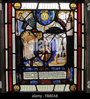 17th Century Stained Glass commemorating Lodocus Knab, St Luke's Church, Tixover, Rutland - Stock Image