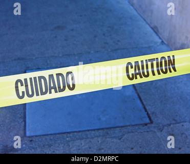 safety ribbon blocking entrance - Stock Image