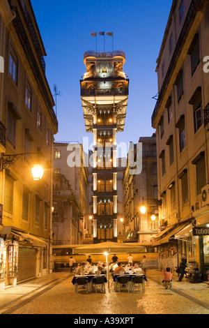 Portugal Lisbon Baixa Chiado Elevator de Santa Justa in twilight Built in 1902 by Raul Mesnier du Ponsard new gotic - Stock Image