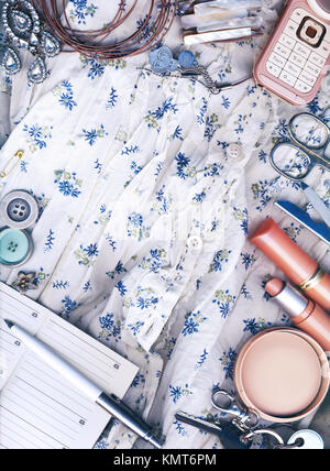 Textile background, feminine world. - Stock Image