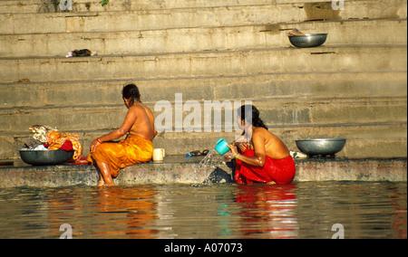 Bathing Women Lake Pichola, Rajasthan, India - Stock Image
