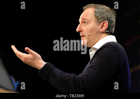 Hay Festival, Hay on Wye, Powys, Wales, UK - Wednesday 29th May 2019 - Adrian Weller a senior research fellow at Cambridge University on stage at the Hay Festival talking about artificial intelligence ( AI ) and ethics. Photo Steven May / Alamy Live News - Stock Image