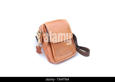 Brown bag leather on isolated white - Stock Image